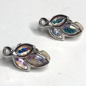 Vintage Clip Earrings Crystal Leaf Design Swan